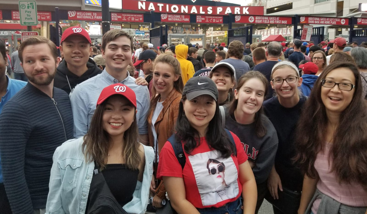 Students at Nationals Park