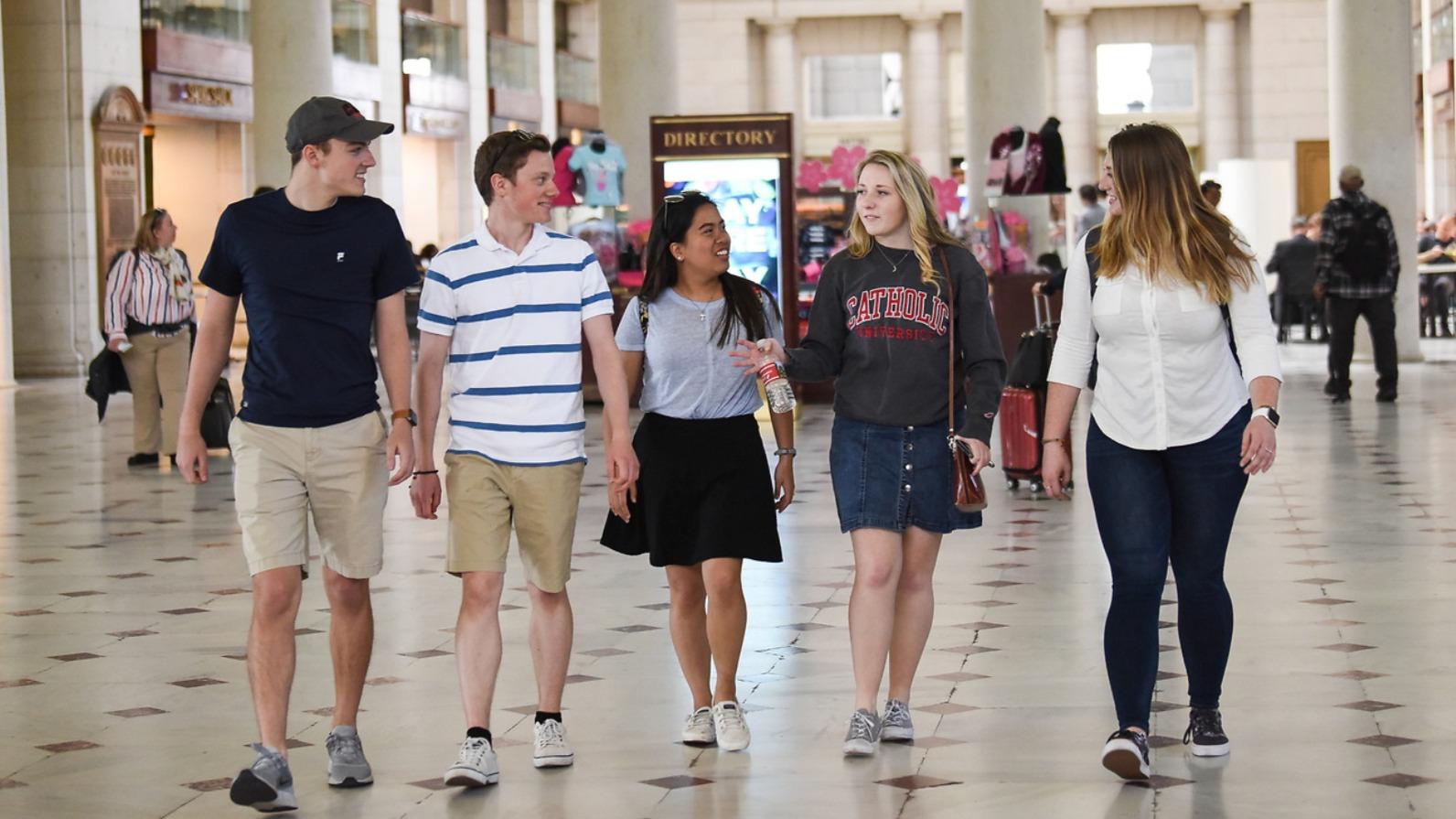Catholic University students talking